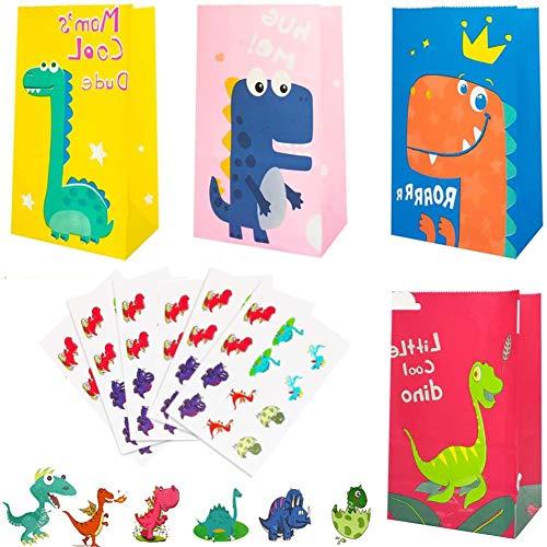 ZHOUZHOU 24 Pezzi Sacchetto Regalo Dinosauro,Sacchetti di Carta Dinosauro con 24 Adesivo Dinosaur,Sacchetti Regalo di Carta,Sacchetto Candy,Sacchetto Regalo per Bambini Feste di Compleanno
