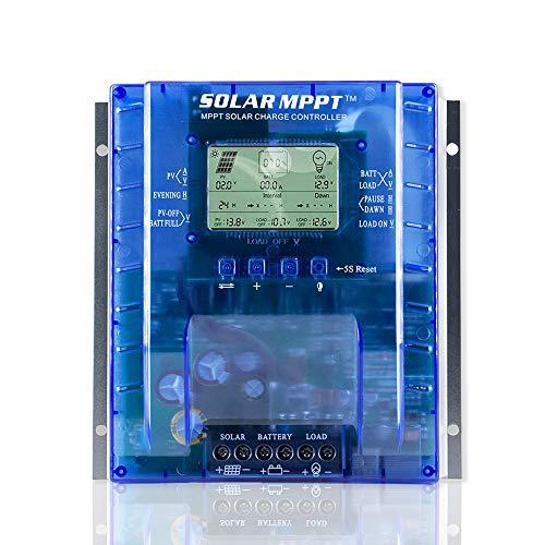 OOYCYOO 40A Solar Laderegler charge controller MPPT automatische Erkennung 12V/24V,Solarregler mit USB-Port Display für AGM-Gel versiegelte Batterie mit und Ladezeit-Einstellung(Aufgerüstet Version)