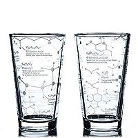Gobelet à bière gravé au sable sur le thème de la science: chaque verre présente un aperçu détaillé des molécules trouvées dans la bière, avec une brève explication sur la contribution de chaque molécule à ce projet classique.Parfait pour les amateu...