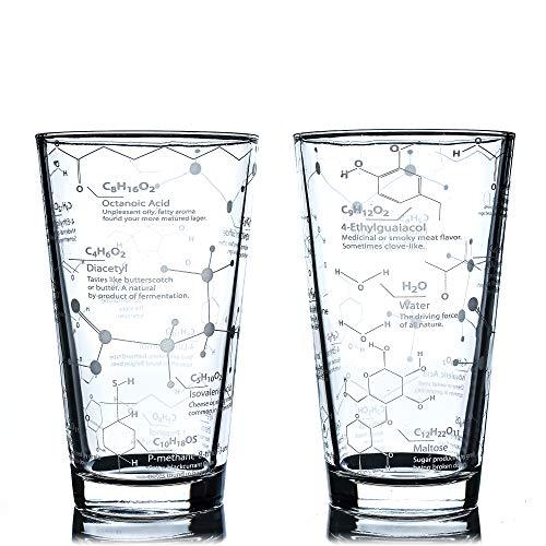 Greenline Goods Bicchieri da Birra - 16 oz Pint Glass (Set di 2) Science of Beer Glassware - Inciso con molecole chimiche di Birra e Luppolo