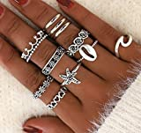 PROTUSTER Boho Shell Knuckle Rings Vintage Stack Able Joint Midi Finger Rings Set Starfish Silver Crystal Flower Hand Accessories Jewelry for Women and Teens Girls(Pack of 11) (Silver-A)