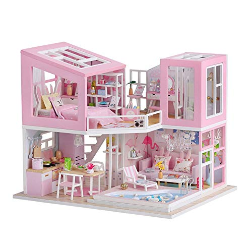 JWIL Toy cabin Pink Girl Doll House DIY Cottage Creative Handmade Assembled Model Cottage Birthday Wooden Toy with Light as birthday/Christmas