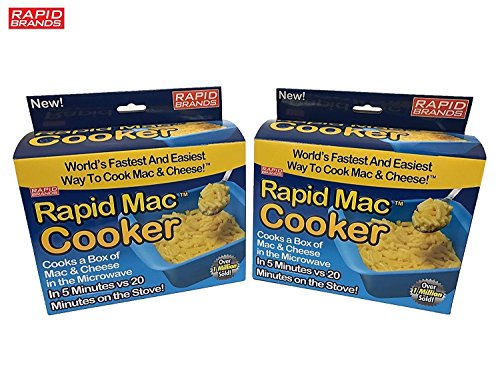 Rapid Mac Cooker | Microwave Macaroni & Cheese in 5 Minutes | Perfect for Dorm, Small Kitchen or Office | Dishwasher-Safe, Microwaveable, BPA-Free (2-Pack)