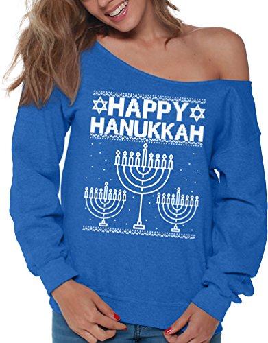 Vizor Hanukkah Sweatshirt for Women Off Shoulder Hanukkah Sweater Women Menorah Sweater Menorah Sweatshirt Blue M