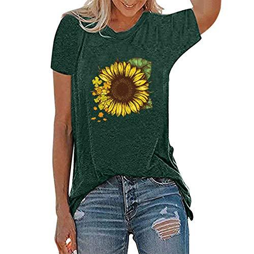 Blusa para mujer con diseo de girasol, camiseta bsica de verano, manga corta y cuello redondo, Verde., XL