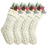 Kunyida Pack 4,14' Unique Ivory White Knit Christmas Stockings Style3