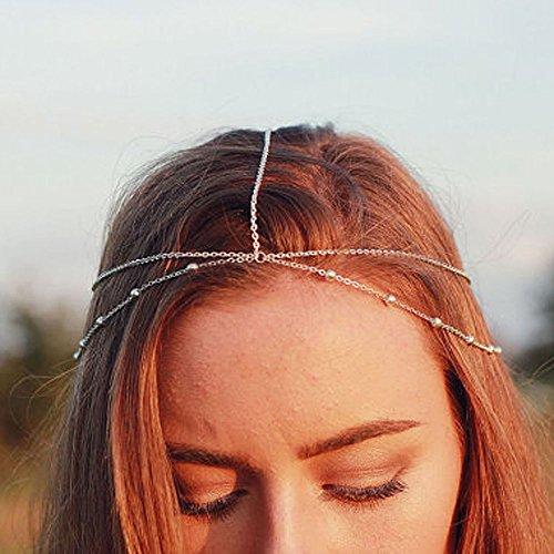 Yean Chaîne de Tête Accessoires Cheveux Style Bohème pour Femmes et Filles (Argent)