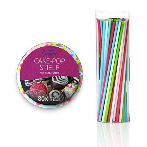 Lumaland Cuisine CakePop Sticks 80 Stück Wiederverwendbare Stiele für Cake Pops ca. 15 cm lang in 4 Farben