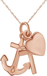 14K Gold Over Sterling Silver Anchor Cross Heart Pendant Necklace