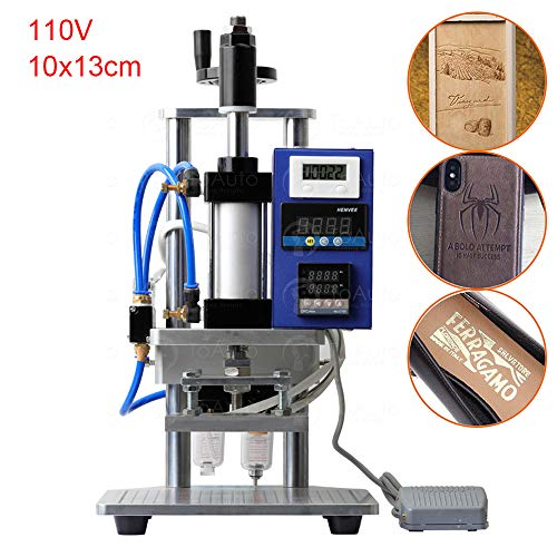 Pneumatic Hot Foil Stamping Machine with Double Column Air Operated and Foot Switch for PVC Card Leather Wood Embossing (10x13cm, 110V)