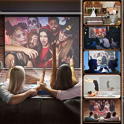 DR.Q HI-04 Projector with Projection Screen 1080P Full HD and 220'' Display Supported, Upgraded 5000 Lux Video Projector Compatible with TV Stick PS4 HDMI VGA TF AV USB, Home Theater Projector, White