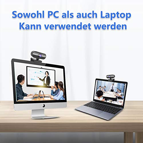NIYPS Webcam mit Mikrofon, Full HD 1080P Streaming Webcam für PC, Laptop, Mac, Plug-and-Play Webcam USB mit Autofokus und Weitwinkel für YouTube, Skype Videoanrufe, Lernen, Konferenz, Spielen