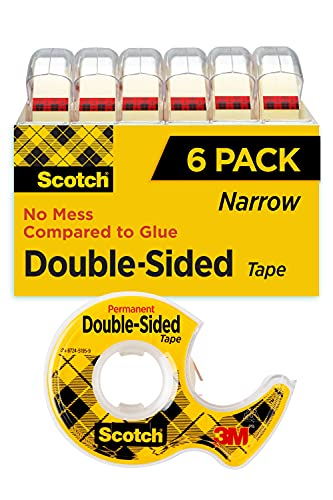 Scotch Double Sided Tape, 1/2 in x 500 in, 6 Dispensered Rolls (6137H-2PC-MP)