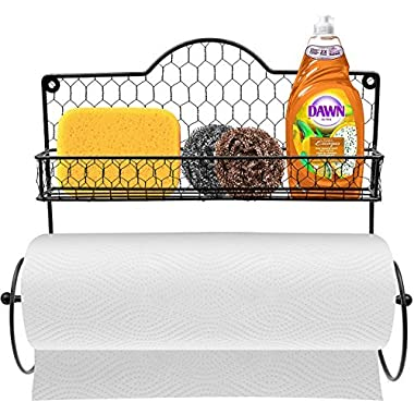 Sorbus Paper Towel Holder, Spice Rack and Multi-Purpose Shelf—Wall Mounted Storage for Kitchen Accessories, Towels, Toiletries, Supplies, etc.—Ideal for Kitchen/Bathroom—Made of Steel (Black)