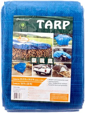 discount 20 ft X lowest 16 wholesale ft Waterproof Multi Purpose Blue Tarp Poly Cover For Roof Car outlet online sale