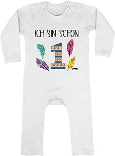 HARIZ HARIZ Baby Strampler Ich Bin Schon Eins Indianer 1 Geburtstag Kinder Baby Inkl. Geschenk Karte Unschulds Weiß 3-6 Monate