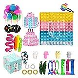 CAIYAN Fidgets Fidget Toy Pack Fidget Juguetes Sensoriales Fidget Set de 29 piezas para aliviar el estrés y la ansiedad juguetes Kit de cumpleaños, 29pcs Fidget Pack, Talla única