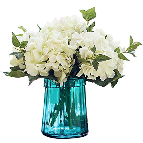 Felice Arts Pack of 3 Artificial Hydrangea Flowers Fake Silk Bouquet Flower for Valentine's Day Home Wedding Decor(White)