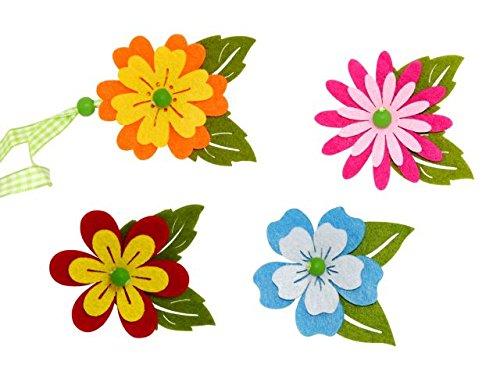 Lote de 40 Flores de Fieltro con Cinta (Surtidas). Complementos. Detalles de Bodas, Comuniones, Bautizos y Eventos.