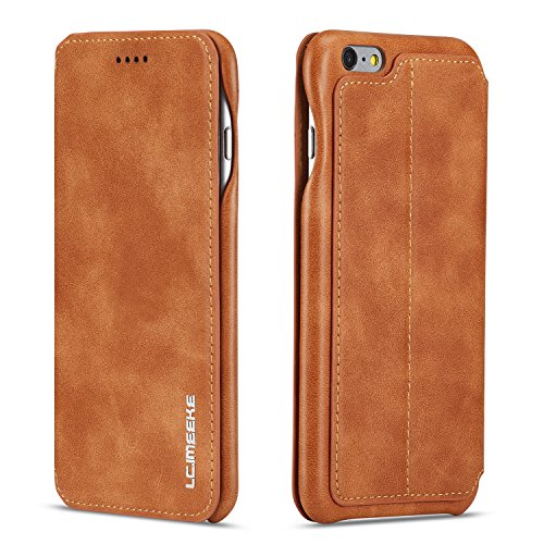 QLTYPRI Hülle für iPhone 7 iPhone 8 iPhone SE 2020, Ultra Dünne Ledertasche Magnetische Handyhülle mit Kartenfach Standfunktion Flip Schutzhülle Kompatibel mit iPhone 7 8 SE 2020 - Braun