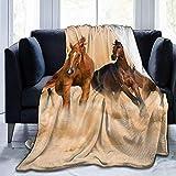 Emily-Shop Running Horse in Desert Sand Storm Coperta in Pile ultramorbido Flanella in Velluto Coperta da tiro in Peluche