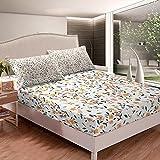 Loussiesd - Set di biancheria da letto con angoli, motivo floreale e fiori, per donne, per letto singolo, con 1 federa