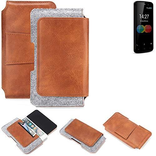 K-S-Trade® Schutz Hülle Für Allview P6 EMagic Gürteltasche Gürtel Tasche Schutzhülle Handy Smartphone Tasche Handyhülle PU + Filz, Braun (1x)