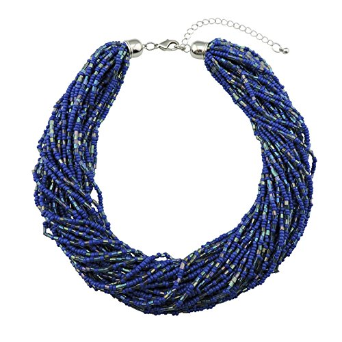 Bocar Multiple Strand Handmade Beaded 16' Statement Collar Necklace for Women with Gift Box (NK-10402-royalblue)