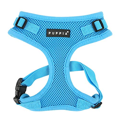 Authentic Puppia RiteFit Harness with Adjustable Neck, Sky Blue, Small