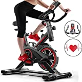 Excersize Bike, Indoor Cycling Bike Smooth Quiet Driven Genou Protection, Spin Cycles Exercise Machines Exercise Gym Bikes For Home Fitness Training With Adjustable Guidonars & Seat Chromed Flywheel