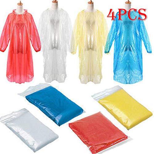 Femmes Manteau Liquidation, 4 Pcs Jetable Adulte D'urgence Imperméable Manteau De Pluie Poncho Randonnée Camping Hood, Vêtements de pluie pour Pâques et St Patrick