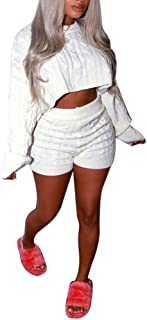2 Piece Sweater Sets for Women Cable Knit Solid Color Crop Top + Shorts Jumpsuits Romper