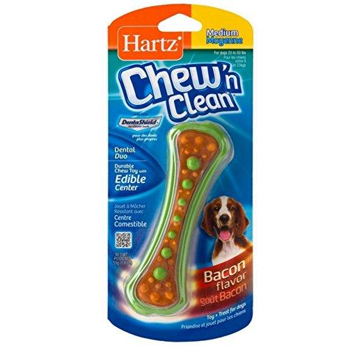 Hartz Chew N' Clean Dental Duo Dog Chew Toy Bacon Flavor, Medium 1 ea(Pack of 6)