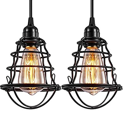 Industrial Pendant Light INNOCCY Edison Hanging Cage Pendant Lights E26 E27 Base Vintage Adjustable Pendant Lamp Fixture for Kitchen Home Lighting 2 Pack