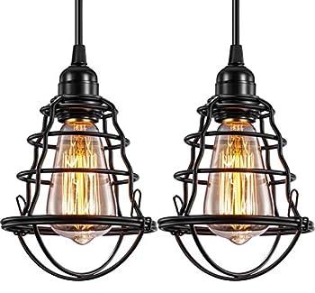 Industrial Pendant Light INNOCCY Edison Hanging Cage Pendant Lights E26 E27 Base Vintage Adjustable Pendant Lamp Fixture for Kitchen Home Lighting 2 Pack