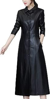 DISSA P8109 Women Faux Leather Long Overcoat Slim Coat Leather Jacket