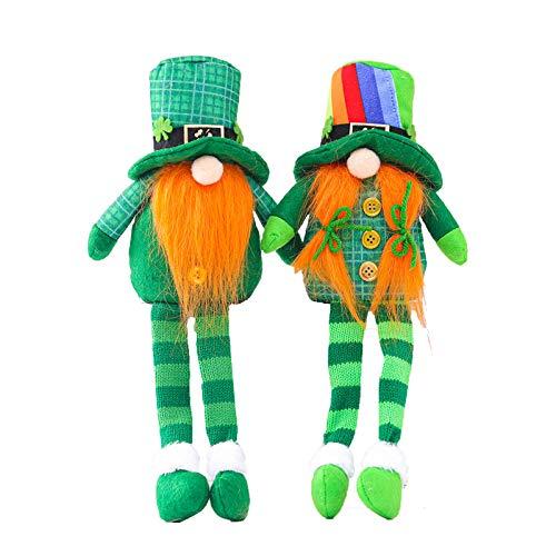 Moent 2 gnomo del día de San Patricio sin rostro, sombrero verde para ancianos, adornos para festivales irlandeses, decoración para fiestas y hogares, regalo de peluche para niños