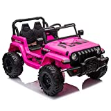 JOYMOR 12V Ride on Truck, Electric Battery Powered Kids Toddler Motorized Vehicles Toy Car W/ 2.4G Remote Control, Music, Radio, 3 Speeds, Seat Belts, LED Lights and Horn, Pink