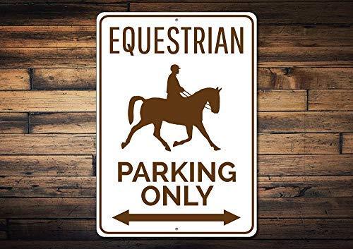 qidushop Parkschild Pferdefreund Geschenk für Pferdebesitzer, Tiertrainer, Reiterschild, lustiges Aluminiumschild für Garage, Haus, Hof, Auffahrt.