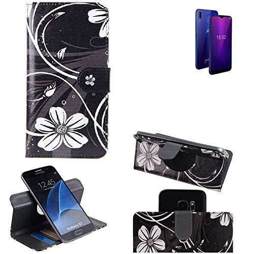 K-S-Trade® Schutzhülle Für Allview Soul X6 Mini Hülle 360° Wallet Case Schutz Hülle ''Flowers'' Smartphone Flip Cover Flipstyle Tasche Handyhülle Schwarz-weiß 1x