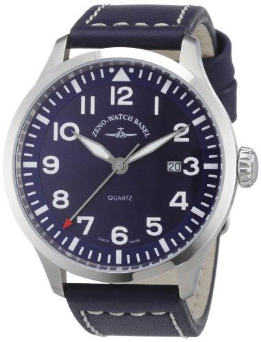 Zeno Watch Basel 6569-515Q-a4 - Reloj analógico de cuarzo para hombre con correa de piel, color negro