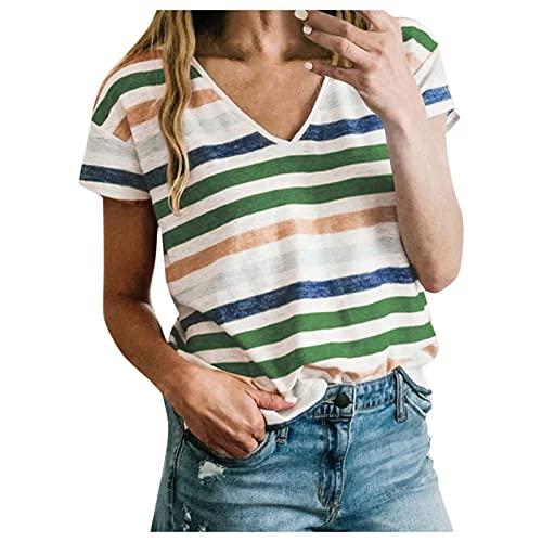 YANFANG Camiseta Estampado Mujer,Top De Manga Corta con Cuello En V A Rayas Costuras Color Casual para Y Multicolores Mujer Elegante,Verde,M