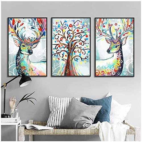 WANGXIAO Abstrakte Leinwand Malerei Mehrfarbige Elche und Lebensbaum Poster und Drucke Wandkunst HD-Druck Wohnaccessoires (70x90cm) × 3 Stück Rahmenlos
