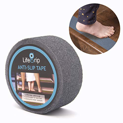 LifeGrip Anti Slip Safety Tape, Non Slip Stair Tread, Textured Rubber Surface, Comfortable for Bare Foot, 2 inch X 15 foot, Grey