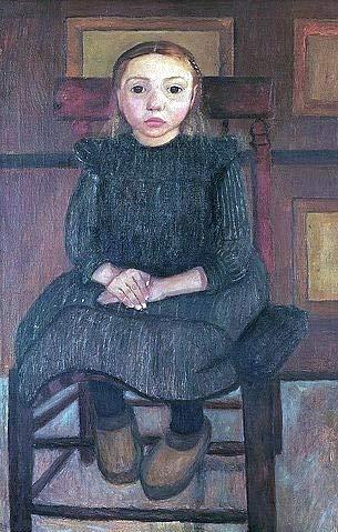 Art-Galerie Digitaldruck/Poster Paula Modersohn-Becker - Worpsweder Bauernkind auf einem Stuhl sitzend. 1905-50 x 78.5cm - Premiumqualität - Made in Germany