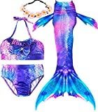 iGeeKid 3 Pcs Girls Swimsuit Mermaid for Swimming Princess Mermaid Costume Bikini Set for 3-12Y(Height 55-60in(10-12Y), A-a Fuchsia Starry)
