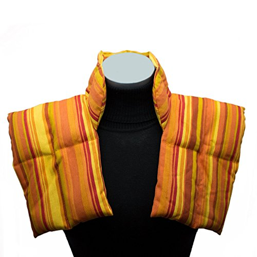 Värmekudde med Krage för Nacke och Axlar - Kornkudde för uppvärmning - naturlig Spannmålskudde med Flerkammarsystem (orange)