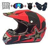 Motocicleta de Motocross Casco Lleno Adulto Cara MTB Casco Conjunto con los Guantes Gafas máscara Casco Neto, Moto Casco Protector para el Descenso Off Road Quad Equipo de Protección