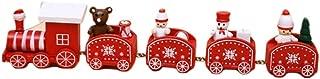 julyso Juego de Trenes de Madera Decoración de Navidad Cinco Secciones pequeño Tren Navidad Dibujos Animados Ventana de Madera Decoración Regalo para niños Exceptional