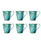 Tazas Conjunto de taza americana de la vendimia, taza de café de cerámica grande 430ml, taza impresa Taza de bebida 1/4/6 PC, gran regalo para amigos familiares-verde Tazas Decorar ( Color : 6 pcs )